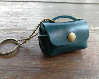 MINI BAG teal genuine leather with name stamping keychain/headphone case/coins/Free!! Initial/name/date/telephone numbe/gift