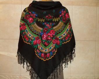 """SALE! Big BLACK Folk SCARF Ukrainian Russian Shawl Floral Shawl, Ethnic Shawl With Tassels.50""""x48"""" (127cm x 122cm)  Wool, Acrylic."""
