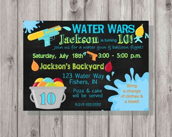 DIGITAL Chalkboard Style Water Wars Splash Party Boy or Girl Birthday Invitation Printable