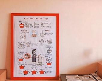 Let's make sushi rice Tea Towel