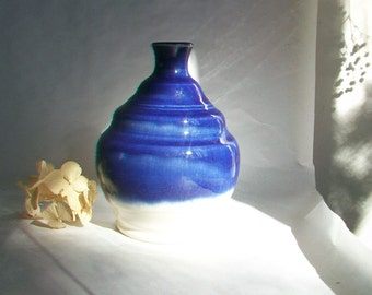 Blue over White Vase -  Actual Vase - Ready to Ship-