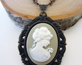 Cameo necklace. Cameo jewelry. Long necklace. Cameo pendant. Black cameo necklace. Victorian jewelry. Gothic jewelry. Gift for her.
