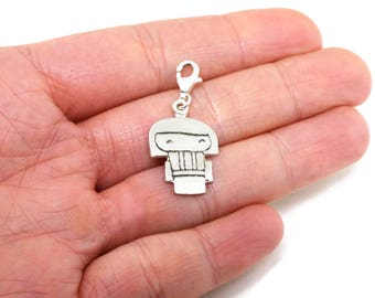 Sterling Silver Kokeshi Doll Charms - Charms for Bracelet Femme or for Couples Bracelet - Long Distance Gift for Her - Lucky Charm