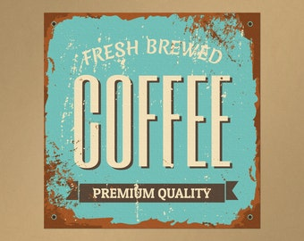 Fresh Brewed Coffee Repositionable Removable Wall Decal | coffee sign coffee decal coffee wall decal coffee house coffee lover coffee art