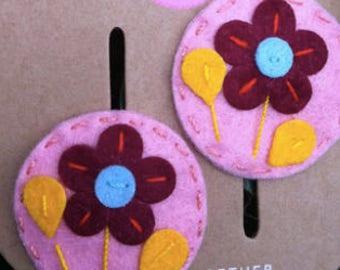 Baby Girls Hand Sewn Flower Hair Clips