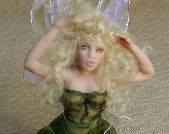 OOAK Hand Sculpted Miniature Green Fairy Art Doll