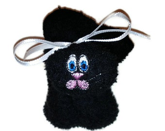 Boo-boo Bunny Ice Pack BLACK Rabbit Embroidered with Thread - no poms or wiggly eyes