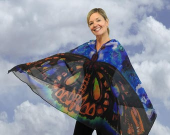 Sheer Butterfly Wearable art, Butterfly gift, Butterfly Wings, Silk kimono robe, Gifts for mom, Gift for women,Yoga Cover up
