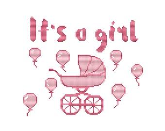 PDF cross stitch pattern, modern cross stitch baby birth chart, cross stitch baby shower gift, baby announcement cross stitch pattern