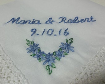 Wedding handkerchief, numerical date, something blue, bridal gift, gift for bride, hand embroidered, bouquet wrap, bride hanky,