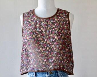 Vintage Cropped Sheer Floral Tank Top, Shirt