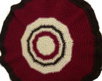 Handmade rug Crochet rug Round rug Floor rug Crochet floor rug Dark brown rug Wool rug