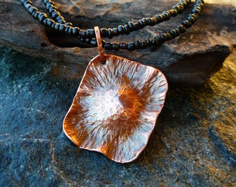 Copper pendant Copper necklace Copper jewelry Hammered pendant Fold formed jewelry Forged jewelry