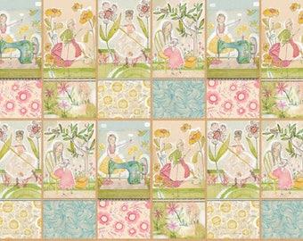 Kids cotton fabric American tea Makers - a happy Multi-Panneau by Cori Dantini House - by 60cm (110 x)