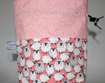 Small drawstring knitting crochet project bag geranium sheep
