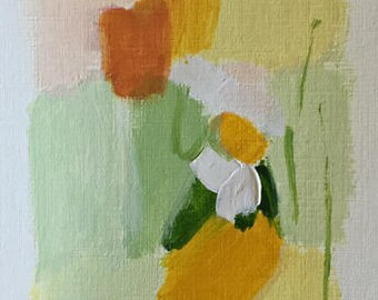 abstract painting acrylic painting on paper small abstract painting green and yellow peach pamela munger original
