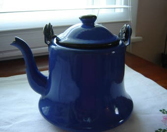 Vintage teapot enamelware royal blue with black handle chippy decorative teapot French Country decor