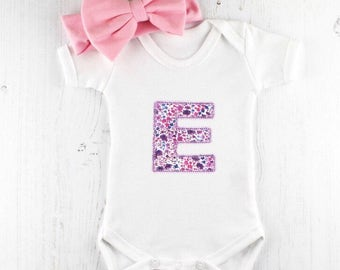 Baby girl onesie etsy personalised baby onesie baby girl baby grow monogrammed letter bodysuit liberty of london baby shower gift any number or letter negle Gallery