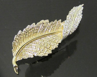 Vintage Jewelry Sarah Cov Rhinestone Leaf Pin Brooch
