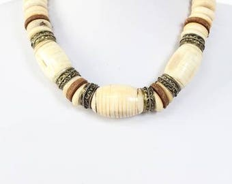 Vintage leather and bone Necklace