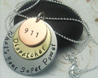 911 Dispatcher necklace - 911 Necklace - 911 Operator necklace - Gift for her - Occupation Necklace - 911 gift - Emergency Responder gift