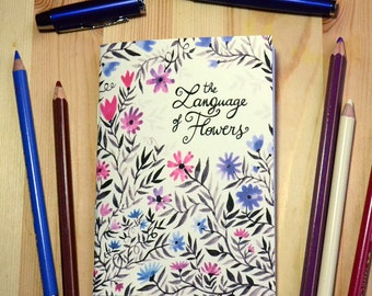 Small illustrated notebook - The Language of Flowers - violet