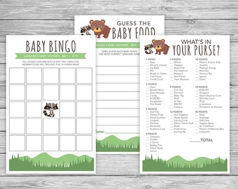 Cute Forest Animals Baby Shower Games - DIY Printable - Instant Download - Editable