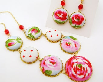 Romantic Fabric Button Necklace and Earring Set - Red Pink Roses, Polka Dots, Fresh