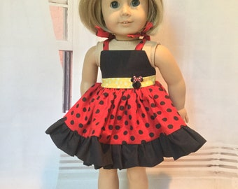 American.Girl Doll dress, Minnie inspired sundress, Beach dress, Dress with tie straps, Doll sun dress, fits like American.Girl Doll Clothes