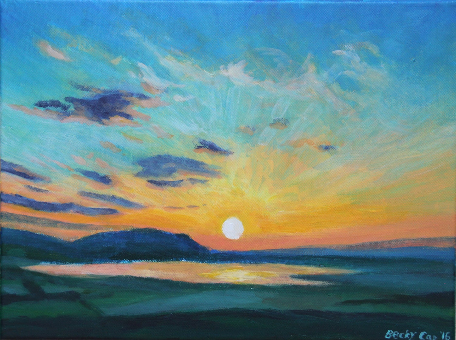 Original Sunrise Wall Art Acrylic Painting Morning Dawn Sky