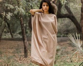 Loose cotton dress, minimal tunic, calf length dress, sustainable dress, drape loose tunic- Sea Hare Dress