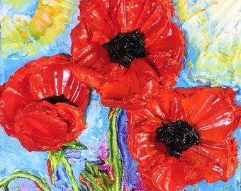 Red Poppies 6x6 Inch deep Original Impasto Oil Painting by Paris Wyatt Llanso