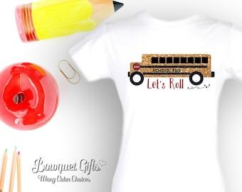 Girls Preschool Outfit- School Bus- Preschool Outfit-Let's Roll