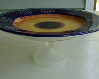 Blue and Gold Swirls Repurposed Cake Stand
