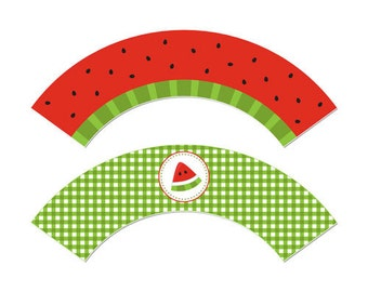 50% Off Sale! - PRINTABLE Summer or Watermelon Party Cupcake Wrappers - INSTANT DOWNLOAD