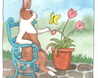 Reserved - Original Watercolor Rabbit Painting - Blue Chair and Butterfly