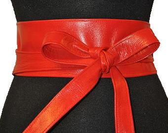 Red obi belt Lether obi belt Red leather obi belt