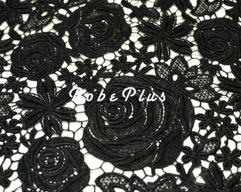 Black Lace fabric-Floral Chemical Lace - Premium Heavy Lace - Black Floral Lace Fabric-Black Embroidered Lace FabricL36