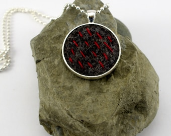 Pendant Necklace | Charcoal Grey | Red | Felted | Silver Plated