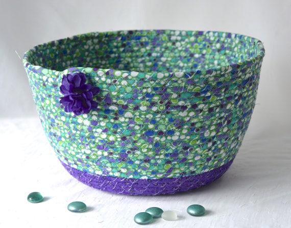 Home Decor Basket, Handmade Napkin Holder, Knitting Basket, Green and Purple Fabric Basket, Artisan Fabric Bowl, Remote Control Holder