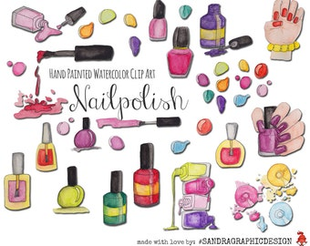 "Nail polish clip art: ""NAIL POLISH"" with nail polish clipart 300dpi PNG files (5145)"