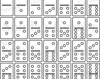 """Instand Download 1"""" x 2"""" Dominoes Template Set, Create Your Own Dominoes"""