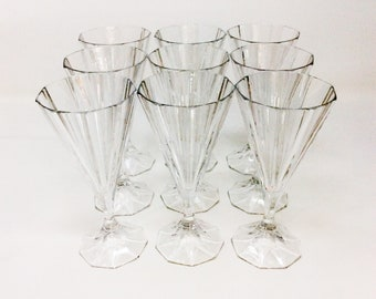 Cone Shaped Crystal Glassware - Set of 9