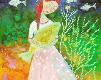 Marina, original mixed media painting on paper, 8 x 10ins, ocean, fish