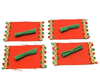 Dollhouse, Christmas Placemats and Napkins, Miniature, Hobby, Holiday Deco,  Miniaturist, 1:12 Scale