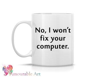 Coffee Mug, Ceramic Mug, Funny Mug, Computer I.T. Mug  Unique Coffee Mug, 11oz or 15oz Watercolor Art Print Mug Gift, Two-Sided Print Tech