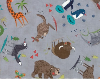 Gray Children's Animal Fabric - Hello World by Abi Hall from Moda - 1/2 Yard