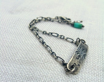 Dainty Cobblestone Textured ID Bracelet Sterling Silver