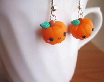 Halloween earrings pumpkins charm handmade polymer clay cute