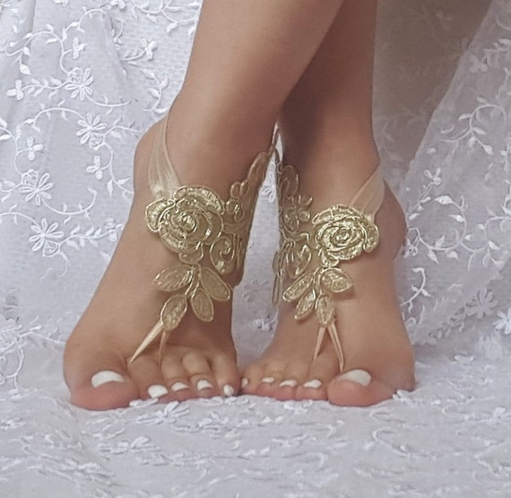 Gold beach sandals barefoot lace   bridal  burlesque wedding shoe sexy bellydance show party beachlife